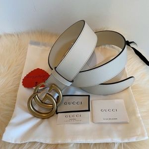 Gucci women's belt white and gold